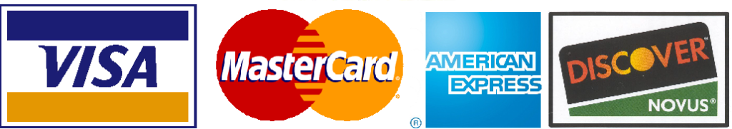 Visa, Mastercard, American Express, Discover cards accepted here
